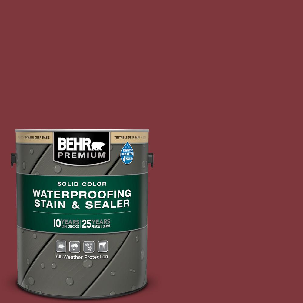 BEHR PREMIUM 1 gal. #SC-112 Barn Red Solid Color Waterproofing Exterior Wood Stain and Sealer