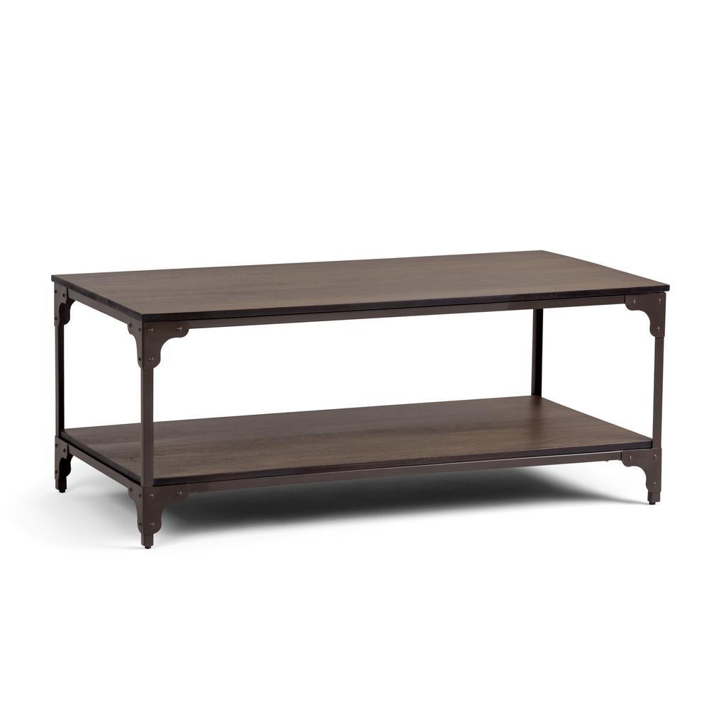 Nantucket Solid Mango Wood and Metal 44 in. Wide Modern Industrial Coffee Table in Walnut Brown
