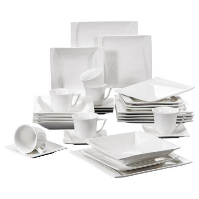 CARINA 30-Piece Casual White Porcelain Dinner Plates Dishes Dinnerware Set (Service for 6)
