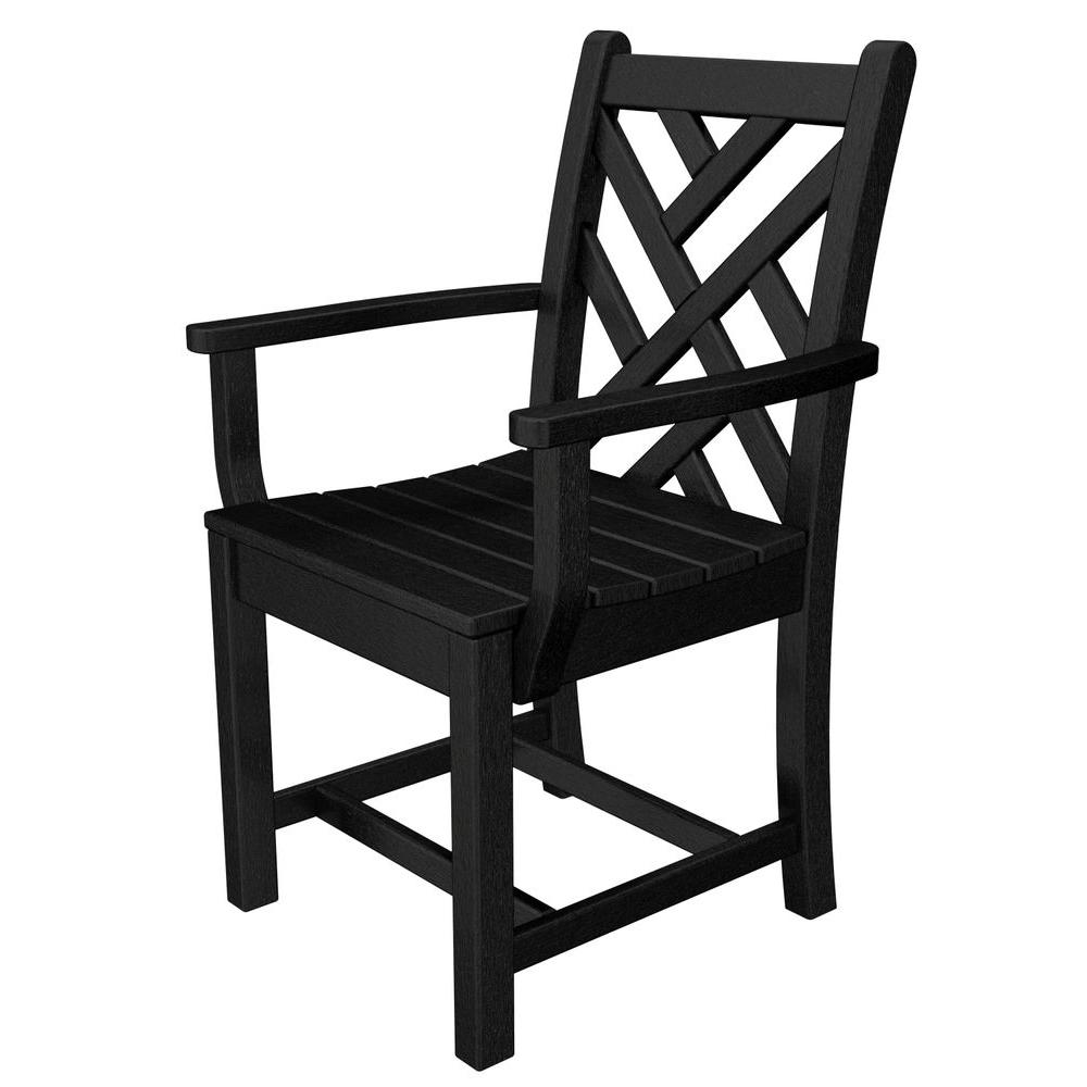 Polywood chippendale black all weather plastic outdoor for Black plastic dining chairs