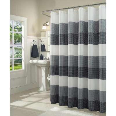 Ombre 72 in. Navy Waffle Weave Fabric Shower Curtain