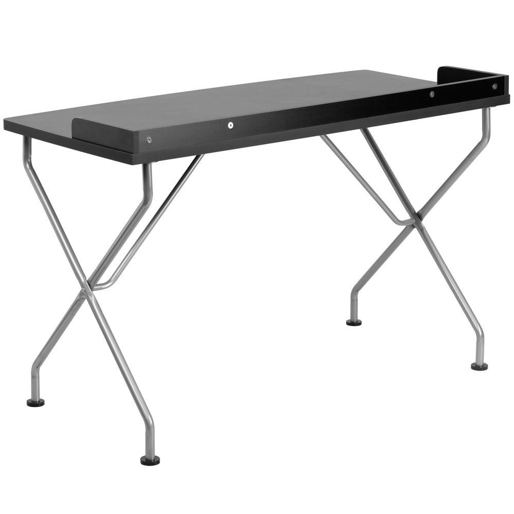 Black Computer Desk with Silver Frame