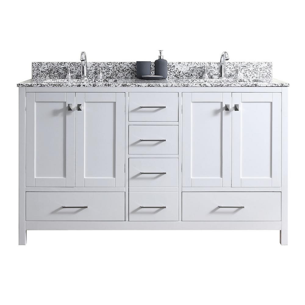 Caroline Madison 60 in. W x 22 in. D Vanity in White with Granite Vanity Top in Arctic White with White Square Basin