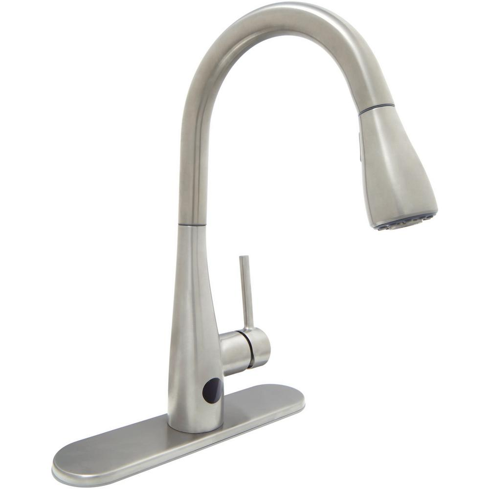 Glacier Bay Nottely Touchless Single-Handle Pull-Down Kitchen Faucet with TurboSpray and FastMount in Stainless Steel, Silver was $198.0 now $109.0 (45.0% off)