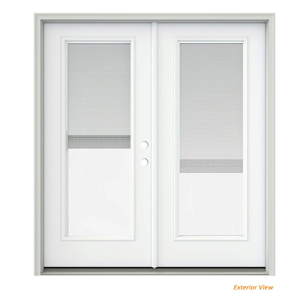 Jeld Wen 72 In X 80 In White Painted Steel Left Hand Inswing Full