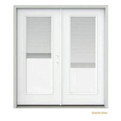 72 in. x 80 in. White Painted Steel Left-Hand Inswing Full Lite Glass Active/Stationary Patio Door w/Blinds