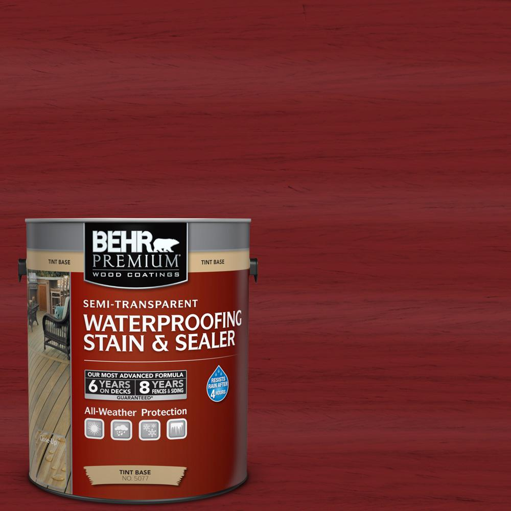 BEHR Premium 1 gal. #ST-112 Barn Red Semi-Transparent Waterproofing Stain and Sealer