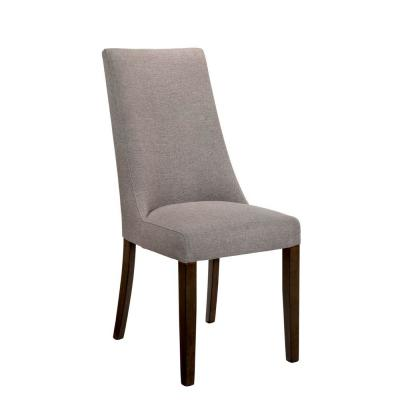 19 in. H Gray Fabric Padded Armless Side Chair with Elongated Back (Set of 2)