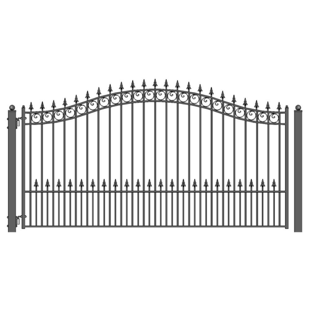 Prague Style 12 ft. x 6 ft. Black Steel Single Swing Driveway Fence Gate