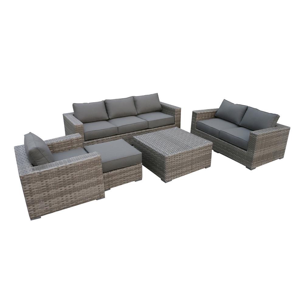 Bali 4-Piece Wicker Patio Deep Seating Set with Olefin Charcoal Grey Cushions