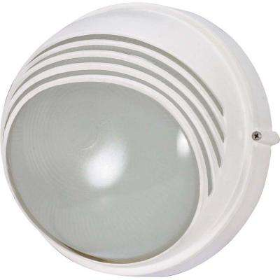 1-Light Outdoor Semi Gloss White Round Hood Bulk Head with Die Cast