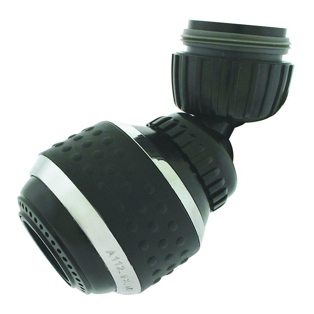 1.5 GPM Soft Grip Water-Saving Swivel Spray Aerator in Black