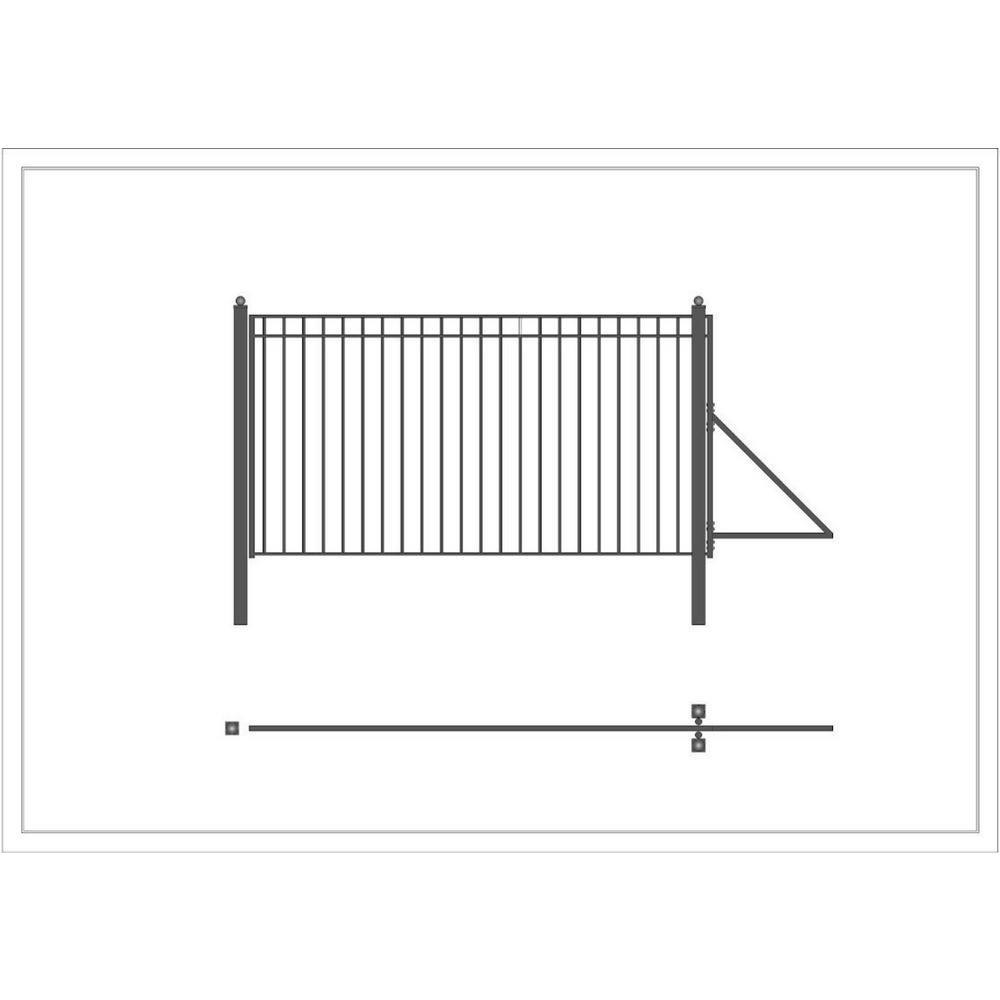 Madrid Style 12 ft. x 6 ft. Black Steel Single Slide Driveway Fence Gate