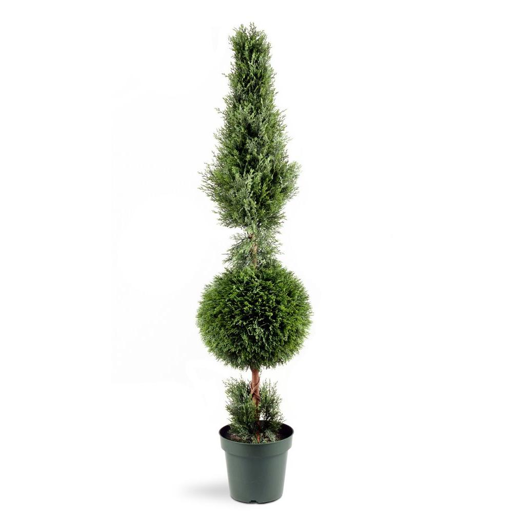 5 ft. Juniper Cone and Ball Topiary Tree in Green Round