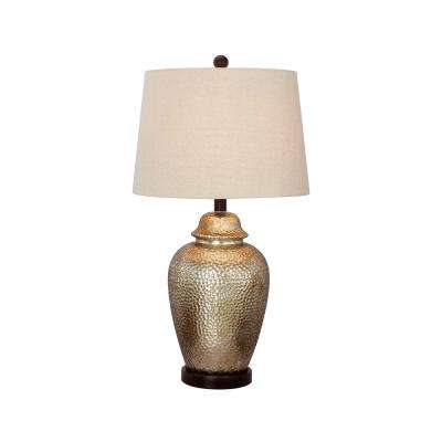 27.5 in. Antique Brown Mercury Glass and Oil-Rubbed Bronze Metal Table Lamp