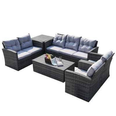 Sunny Gray 6-Piece Wicker Patio Conversation Set with Gray Cushions and Storage Box