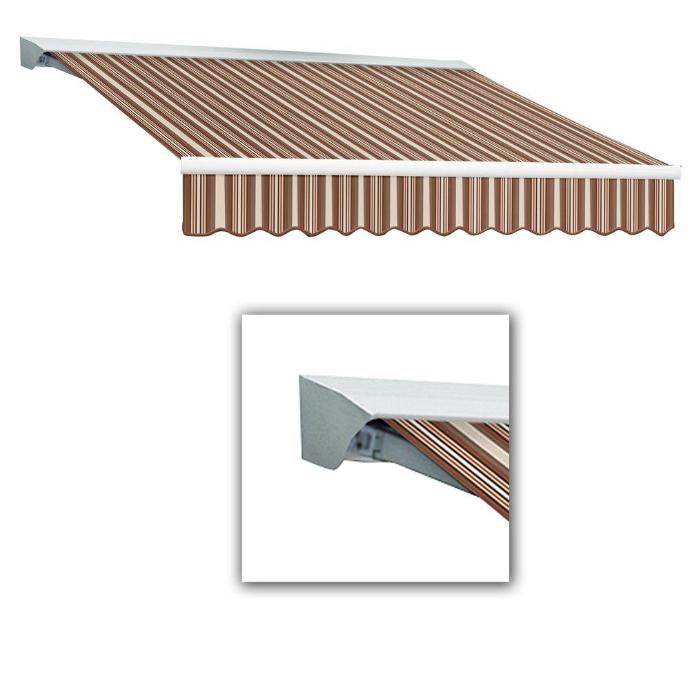 AWNTECH 12 ft. LX-Destin with Hood Right Motor with Remote Retractable Acrylic Awning (120 in. Projection) in Brown/Terra