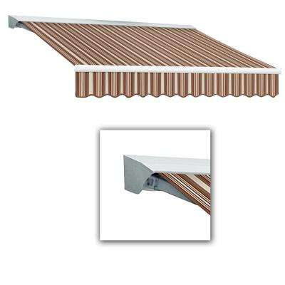 12 ft. Destin-LX with Hood Manual Retractable Awning (120 in. Projection) in Brown/Terra Cotta