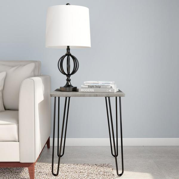 Modern Woodgrain Industrial Style End Table with Hairpin Legs