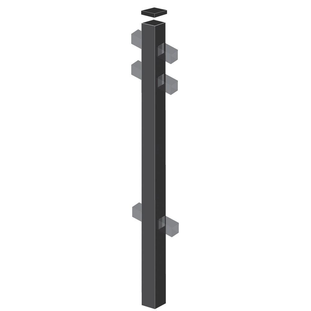 Barrette 2 in. x 2 in. x 88 in. Aluminum Fence Line Post Black-DISCONTINUED