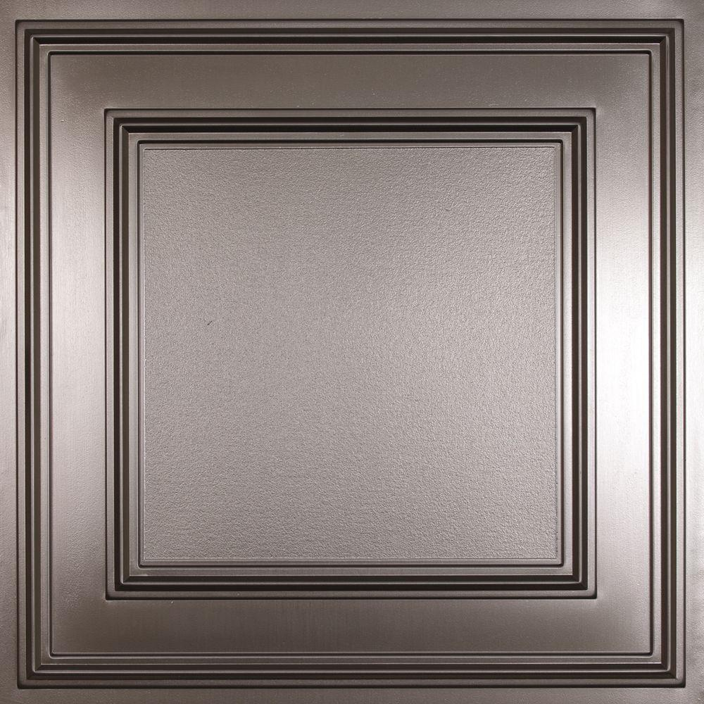 Pvc ceiling tiles ceilings the home depot cambridge faux tin 2 ft x 2 ft lay in or glue dailygadgetfo Images