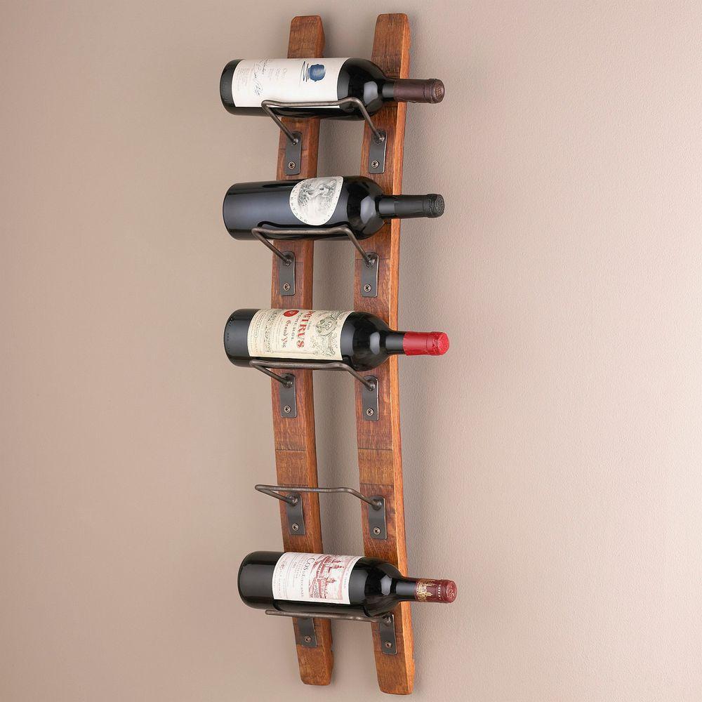 Barrel Stave 5-Bottle Wall Wine Rack