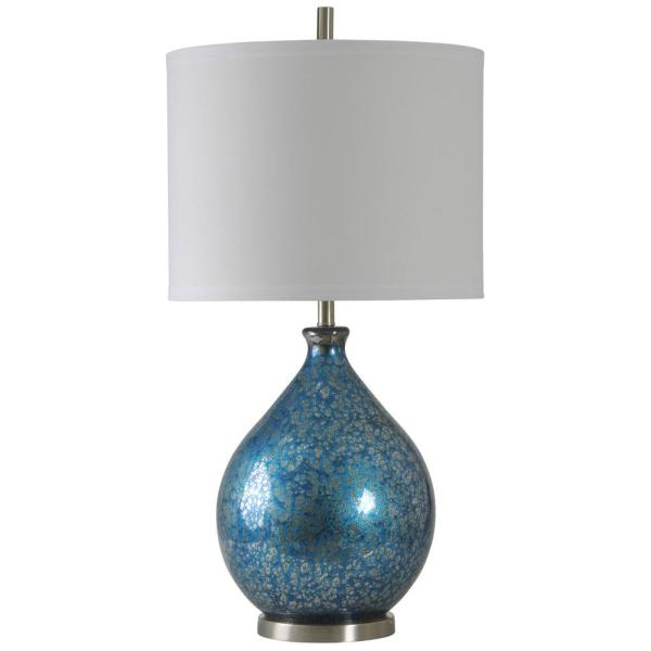 36 in. Blue Mercury Table Lamp with White Hardback Fabric Shade