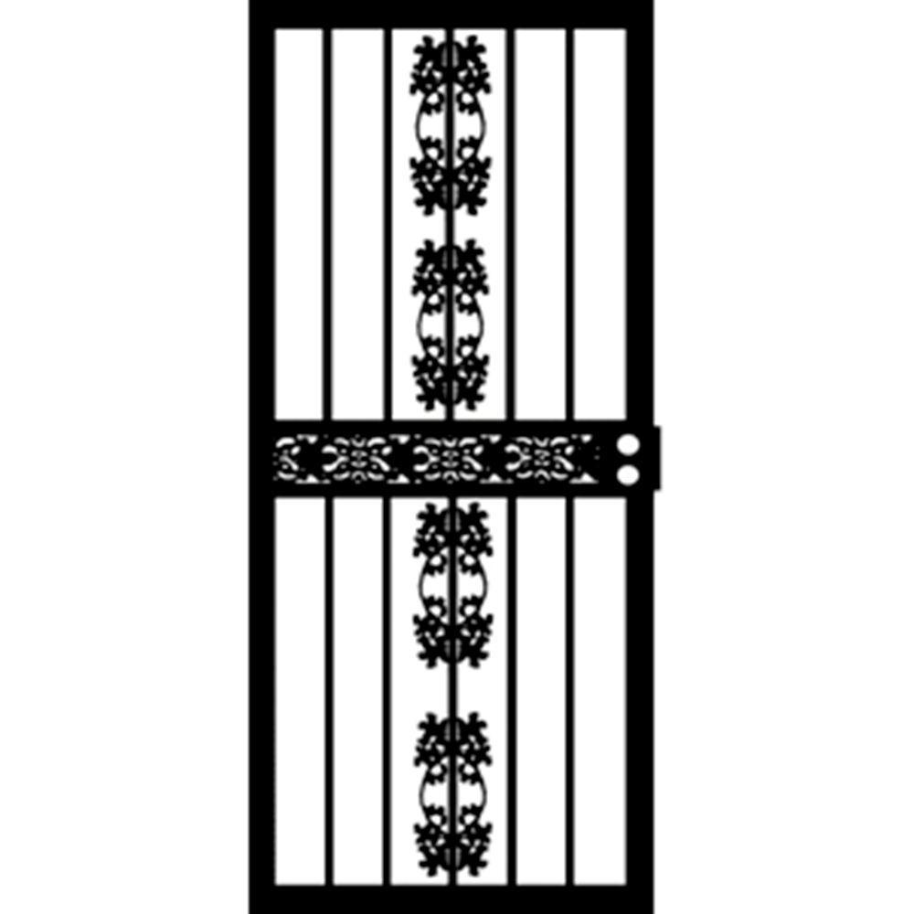 36 in. x 80 in. 402 Series Black Illinois Security Door