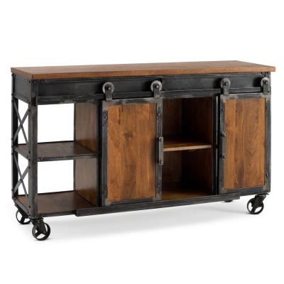 Carnegie Brown Industrial Console Table