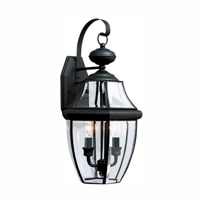 Lancaster 2-Light Black Outdoor 20.5 in. Wall Lantern Sconce with Dimmable Candelabra LED Bulb