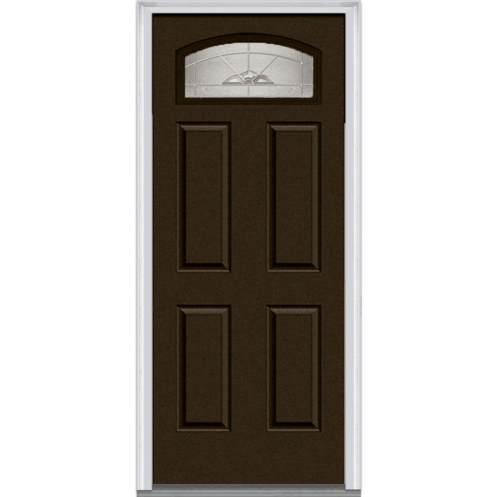 Master Nouveau Decorative Glass Segmented 1/4 Lite 4-Panel Painted Majestic Steel Prehung Front Door