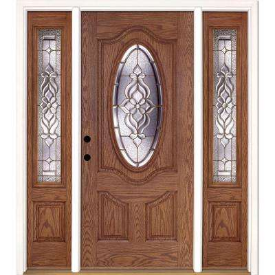 67.5 in.x81.625 in. Lakewood Brass 3/4 Oval Lt Stained Medium Oak Right-Hand Fiberglass Prehung Front Door w/ Sidelites