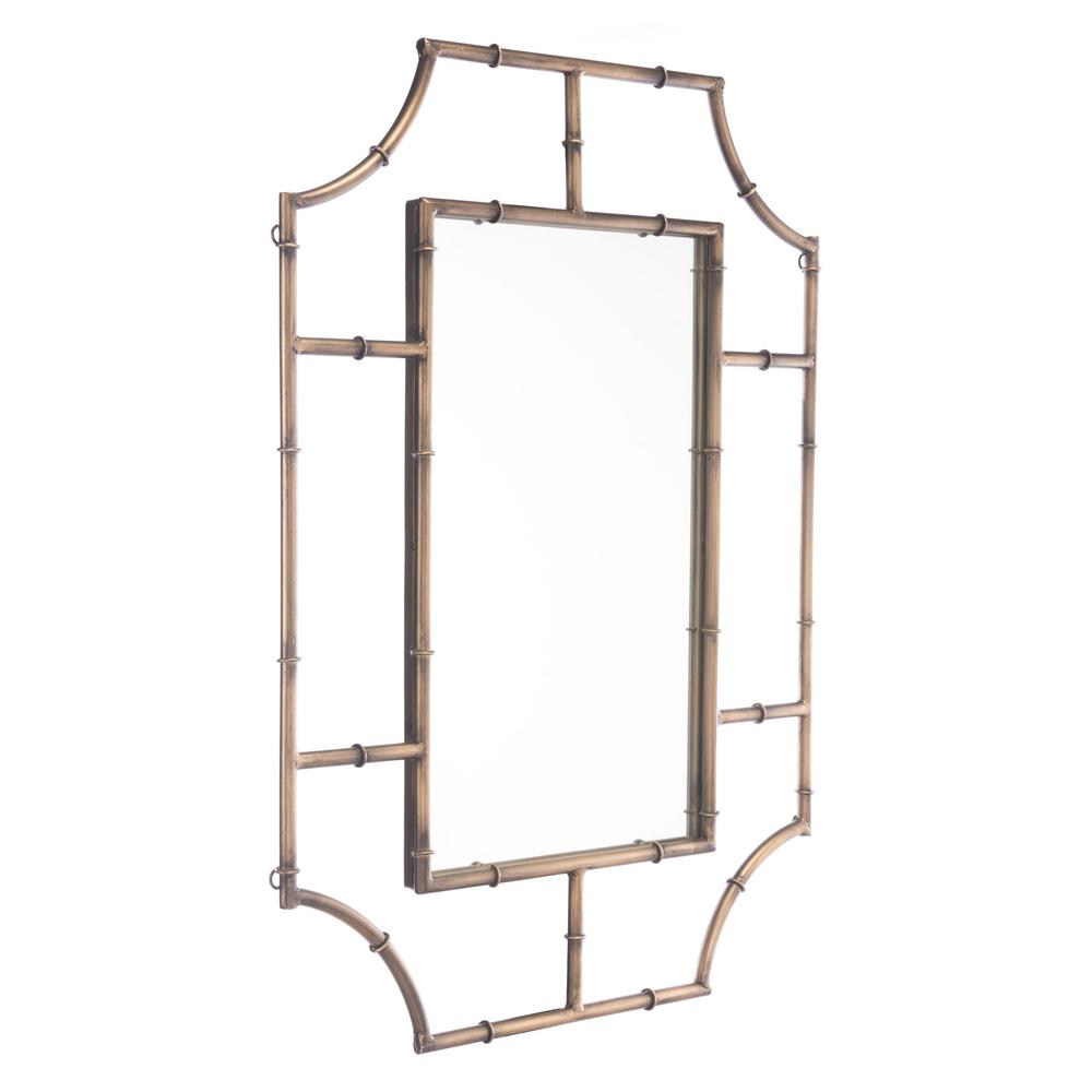 Zuo Round Corners Antique Gold Wall Mirror
