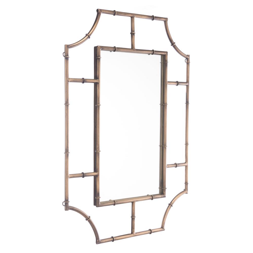 Round Corners Antique Gold Wall Mirror