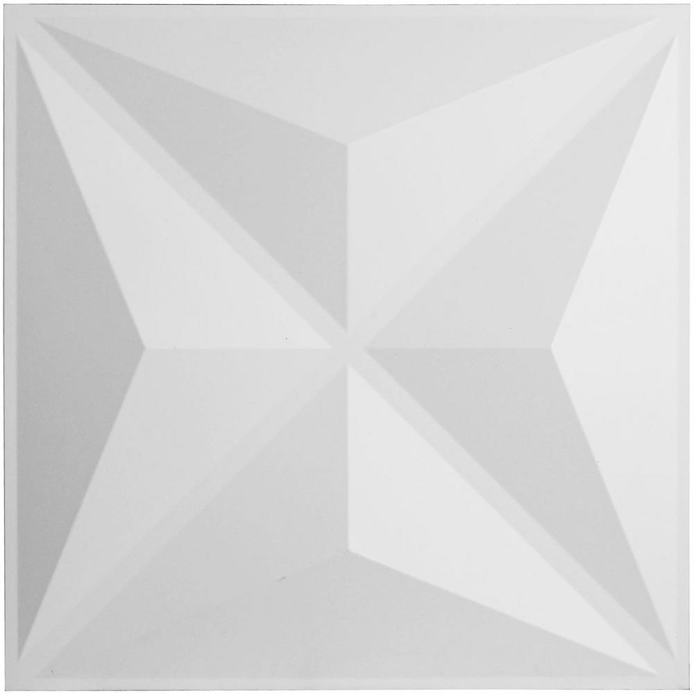 Ekena Millwork 7/8 in. x 19-5/8 in. x 19-5/8 in. PVC White Haven EnduraWall Decorative 3D Wall Panel