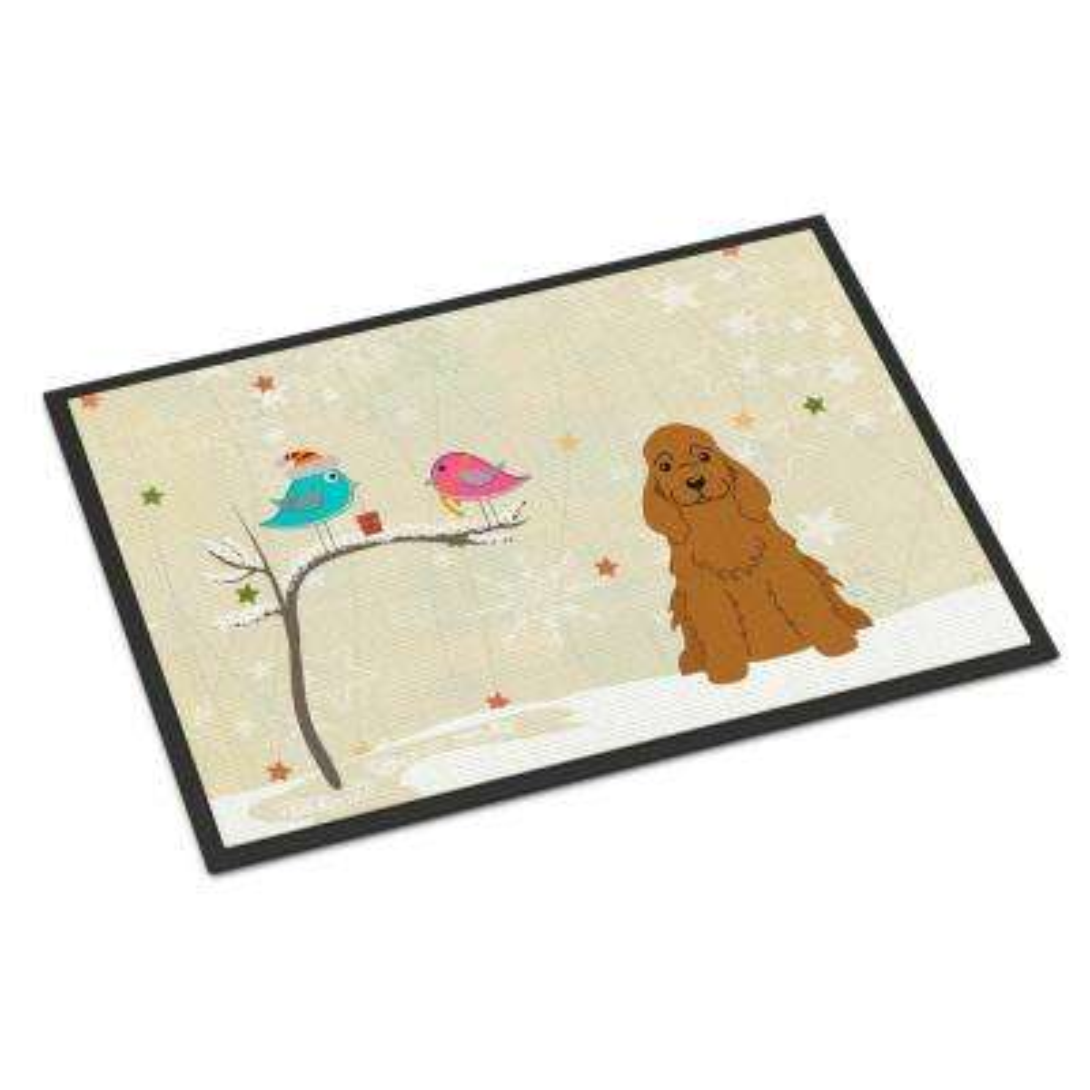 18 in. x 27 in. Indoor/Outdoor Christmas Presents between Friends Cocker Spaniel Red Door Mat