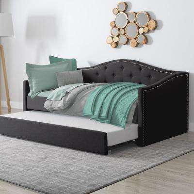 Fairfield Dark Grey Tufted Leatherette Twin/Single Day Bed with Trundle
