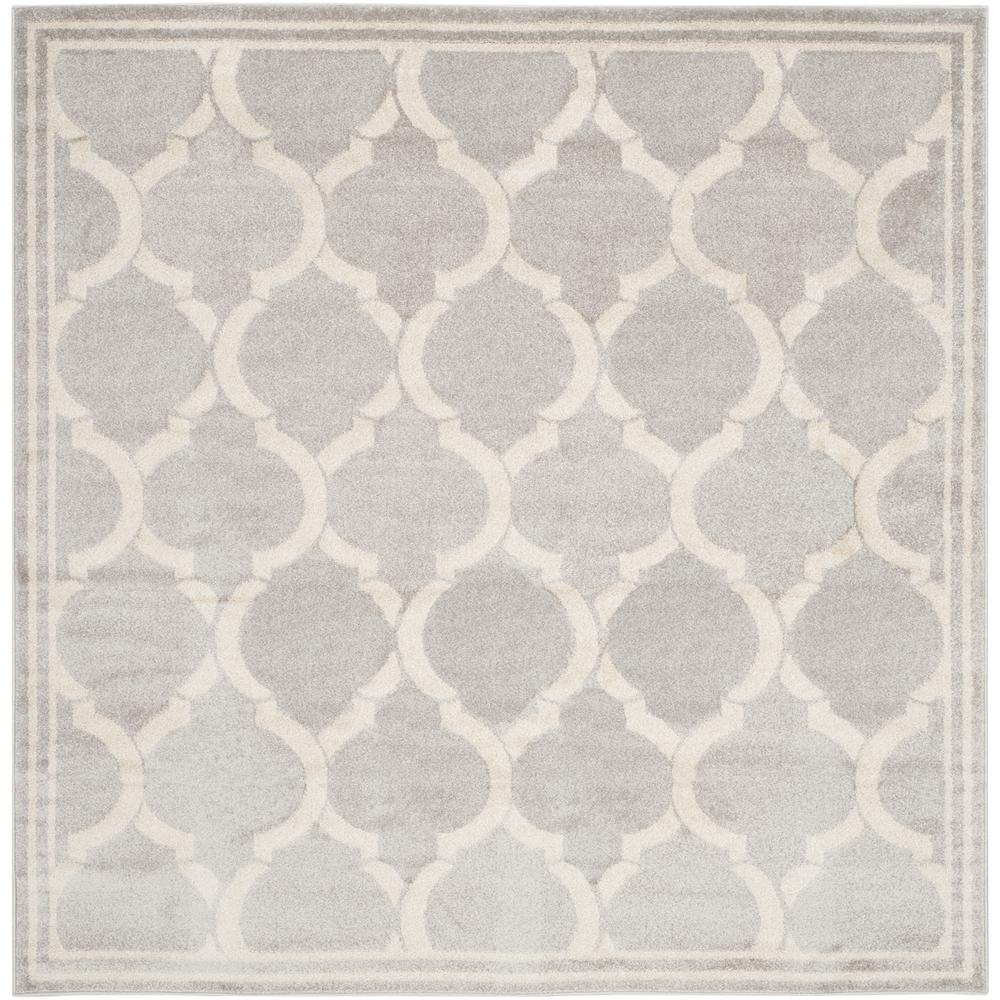Amherst Light Gray/Ivory 7 ft. x 7 ft. Indoor/Outdoor Square Area