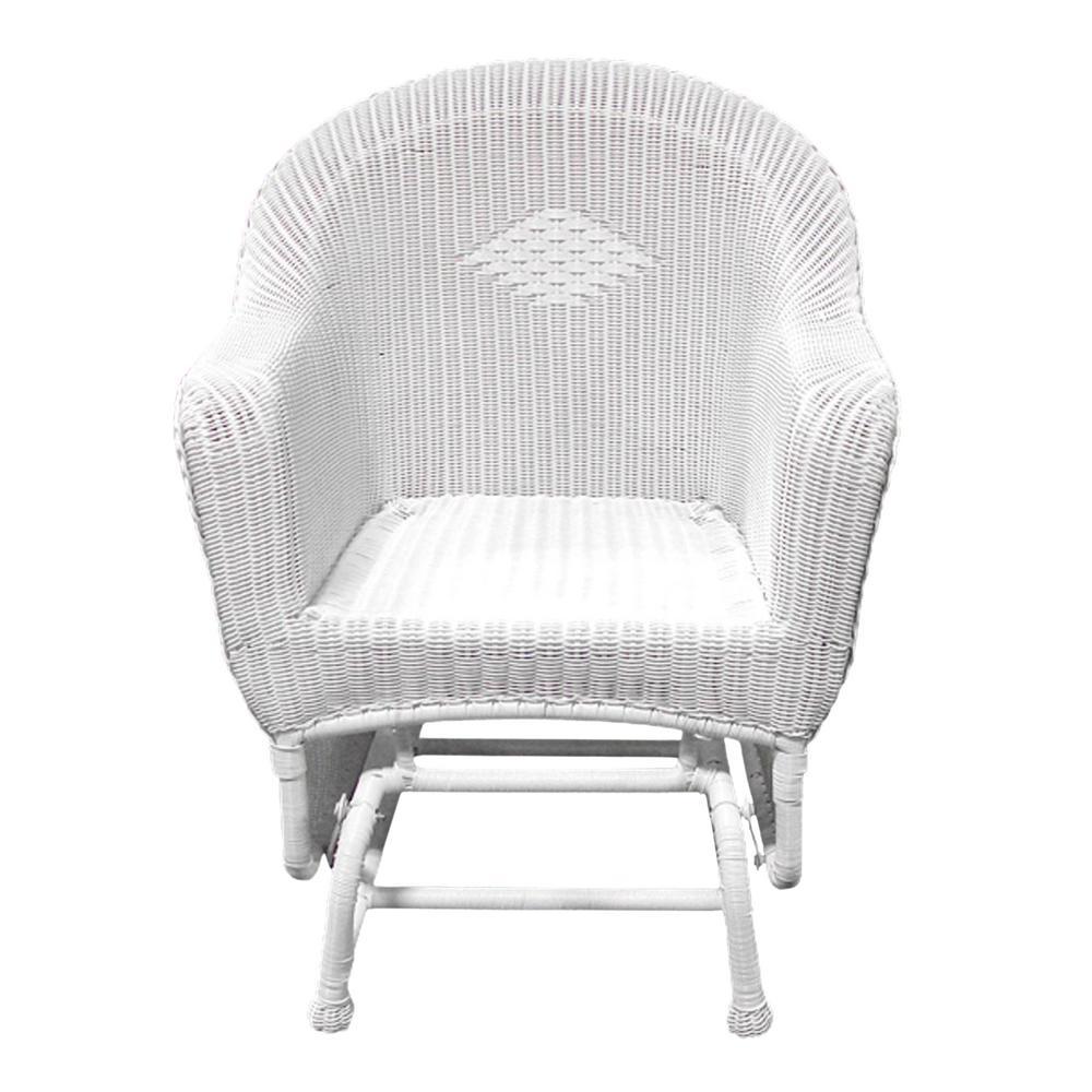 Miraculous Lb International 36 In White Resin Wicker Single Glider Patio Chair Creativecarmelina Interior Chair Design Creativecarmelinacom