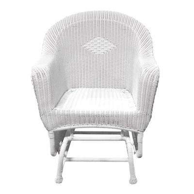 36 in. White Resin Wicker Single Glider Patio Chair