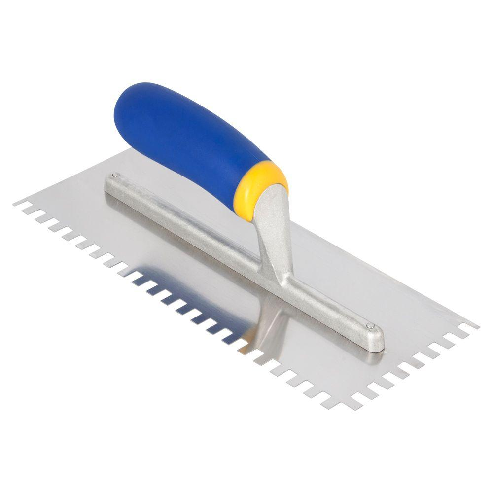 QEP Comfort Grip 1/4 in. x 3/8 in. x 1/4 in. Stainless Steel Square-Notch Trowel