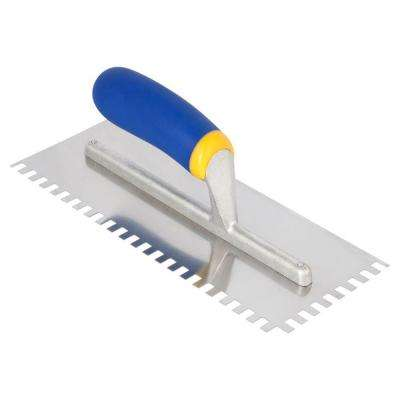 11 in. x 3/8 x 1/4 in. Square-Notch Stainless Steel Flooring Trowel with Comfort Grip