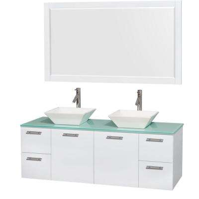 Amare 60 in. Double Vanity in Glossy White with Glass Vanity Top in Green, Porcelain Sinks and 58 in. Mirror
