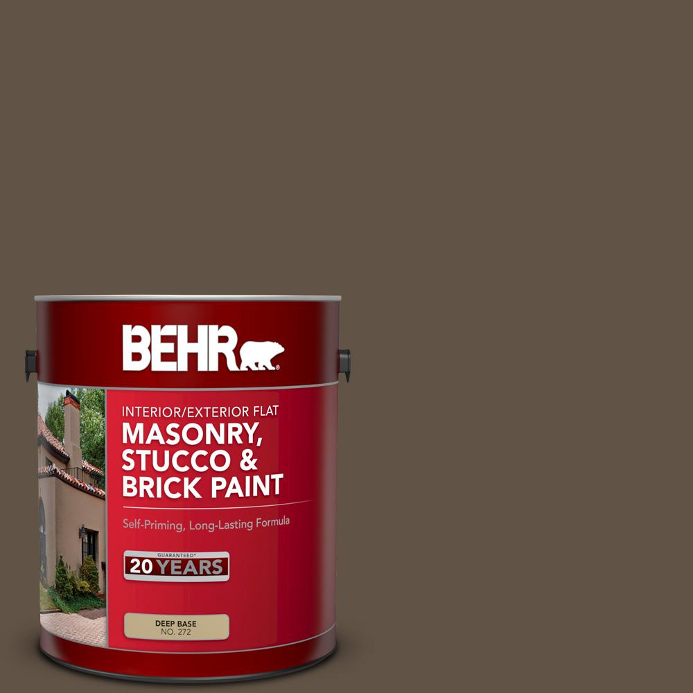 BEHR 1 gal. #N220-7 Cavalry Brown Flat Interior/Exterior Masonry, Stucco and Brick Paint