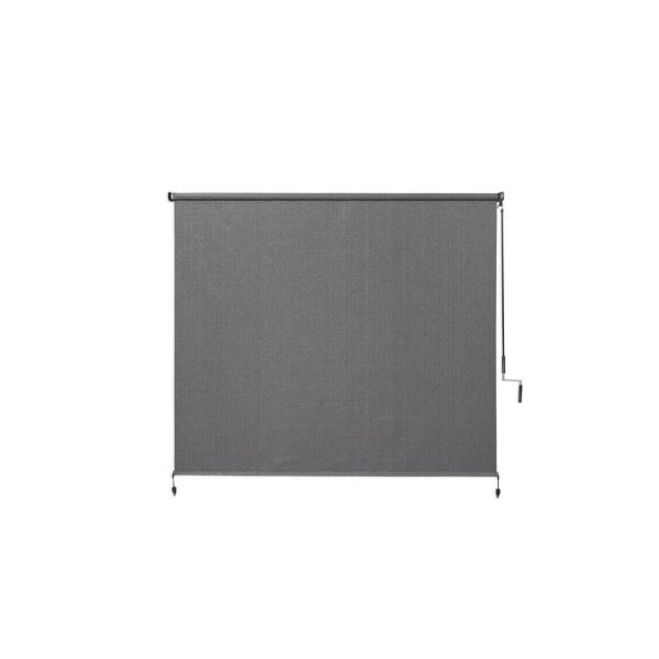 Pewter Cordless Light Filtering Fade Resistant Fabric Exterior Roller Shade 72 in. W x 72 in. L