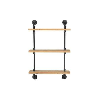 36 in. H x 24 in. W x 7 in. D StyleWell Wood and Black Metal Pipe Wall-Mount Bookshelf
