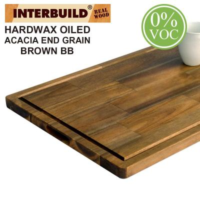 2 ft. L x 1 ft. 4 in. W x 1 in. T Wooden Cutting Board Set  in Oiled Acacia with Brown Food-Safe Wood Oil Finish