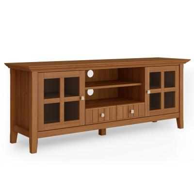 Brunswick 60 in. Light Golden Brown Composite TV Stand with 2 Drawer Fits TVs Up to 66 in. with Storage Doors