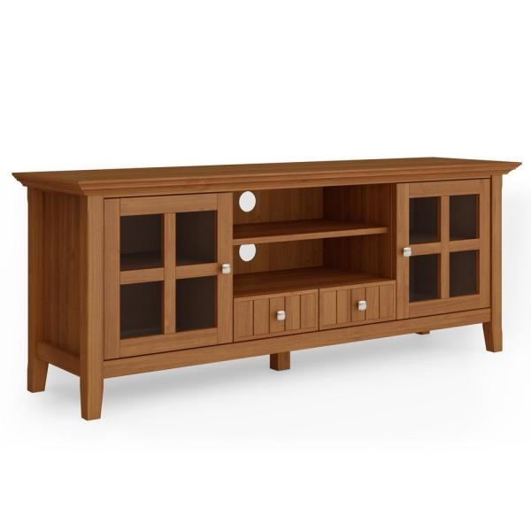 Brunswick in Light Golden Brown Solid Wood 60 in. Wide Rustic TV Media Stand For TVs up to 65 in.