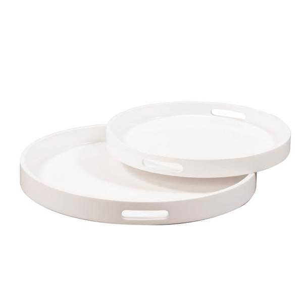White Lacquer Round Wood Decorative Tray Set 83027 The Home Depot